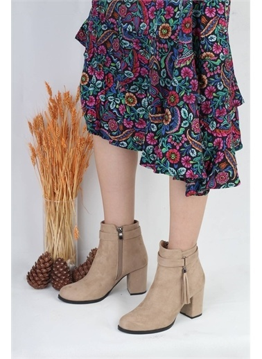 Modabuymus Modabuymus Kadın  Süet Püsküllü Topuklu Bot  - Sares Ten